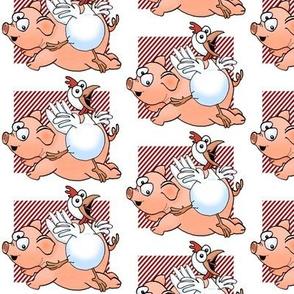 Cartoon pig and chicken.
