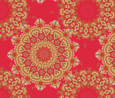 Medallion in gold and red fabric by joanmclemore on Spoonflower - custom fabric
