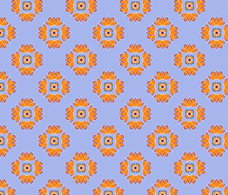 Lotus Flower Blue BG fabric by thelazygiraffe on Spoonflower - custom fabric