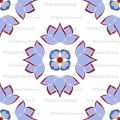 Lotus Flower Blue on White BG