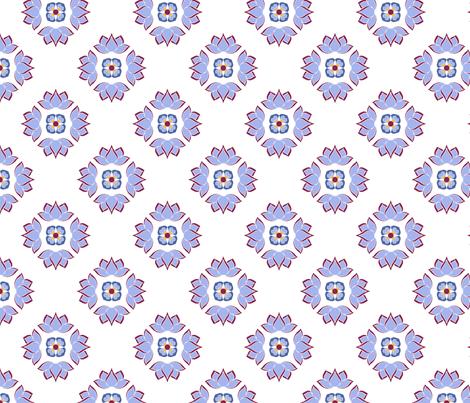 Lotus Flower Blue on White BG fabric by thelazygiraffe on Spoonflower - custom fabric