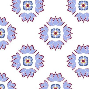 Lotus Flower Blue on White BG