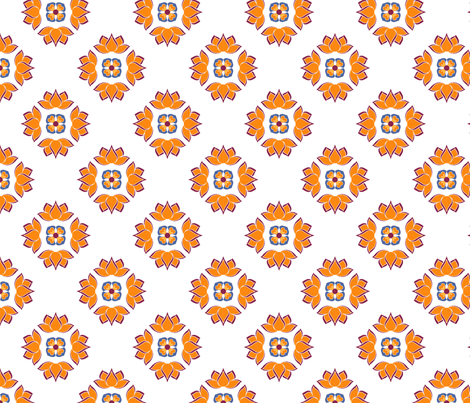 Lotus Flower Orange on White BG fabric by thelazygiraffe on Spoonflower - custom fabric