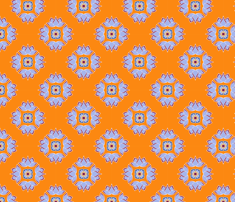 Lotus Flower Orange BG fabric by thelazygiraffe on Spoonflower - custom fabric