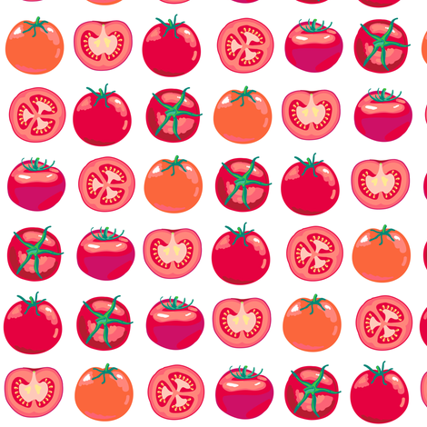 tomato polka fabric by coggon_(roz_robinson) on Spoonflower - custom fabric