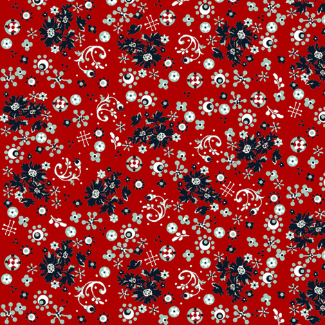 ditsy  flora / red navy white fabric by paragonstudios on Spoonflower - custom fabric