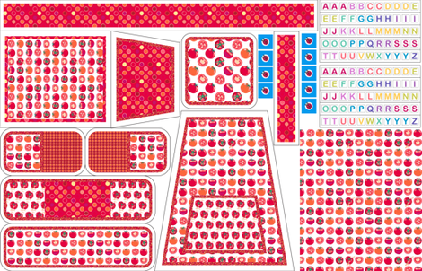 Play kitchen accessories - tomato polka fabric by coggon_(roz_robinson) on Spoonflower - custom fabric