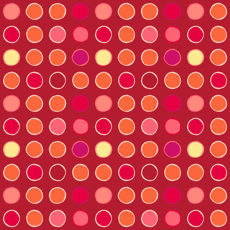 polka spots - tomato fabric by coggon_(roz_robinson) on Spoonflower - custom fabric