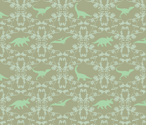 chalky dino lace fabric by wednesdaysgirl on Spoonflower - custom fabric