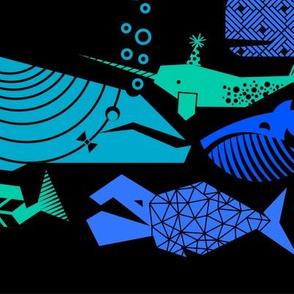 A Geometric Cetacean Parade - Deep Sea