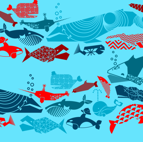 A Geometric Cetacean Parade Small - Reds and Turquoise fabric by aldea on Spoonflower - custom fabric