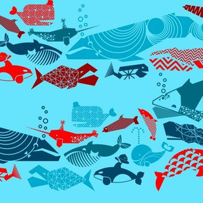 A Geometric Cetacean Parade Small - Reds and Turquoise