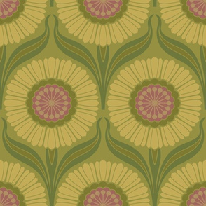 Retro Nouveau in Earth Green