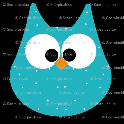 HOOTS in turquoise on black