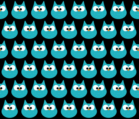 HOOTS in turquoise on black fabric by scorpiusblue on Spoonflower - custom fabric