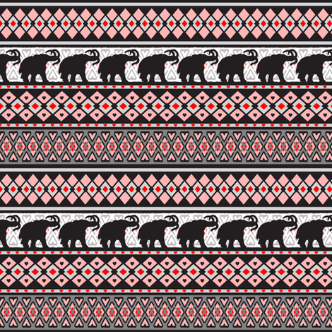 Fairisle Woolly Mammoth fabric by lovekittypink on Spoonflower - custom fabric