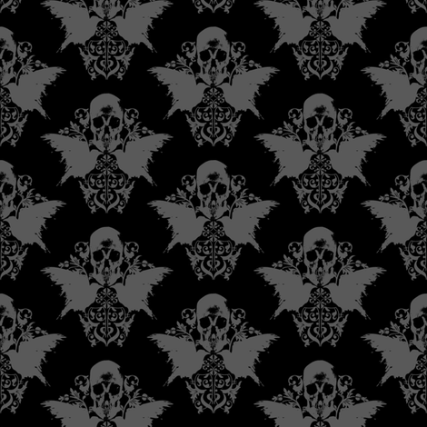 Skull and Raven Damask fabric by thecalvarium on Spoonflower - custom fabric