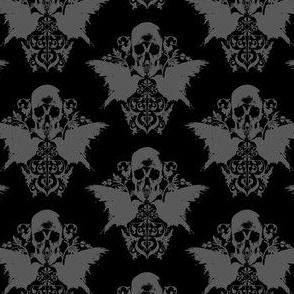 Skull and Raven Damask