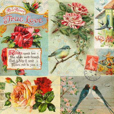 Vintage Love Bird Postcard Collage