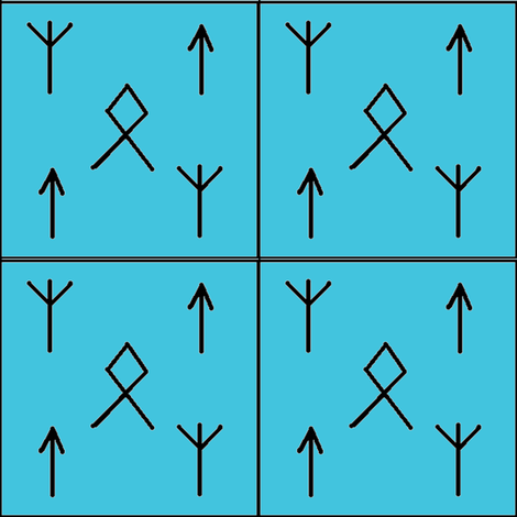 Runes o'mine-blue fabric by datawolf on Spoonflower - custom fabric