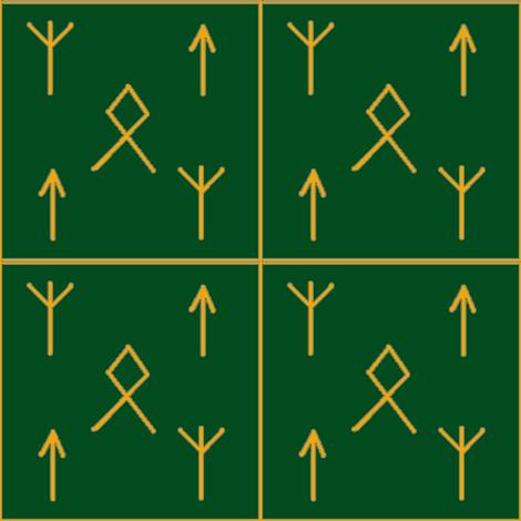 Runes o'mine-green_orange fabric by datawolf on Spoonflower - custom fabric