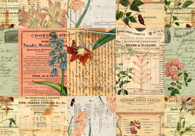 Vintage Botanical Crazy Quilt Collage