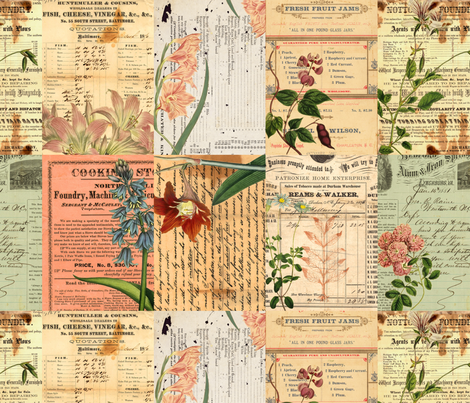 Vintage Botanical Crazy Quilt Collage fabric by jodielee on Spoonflower - custom fabric