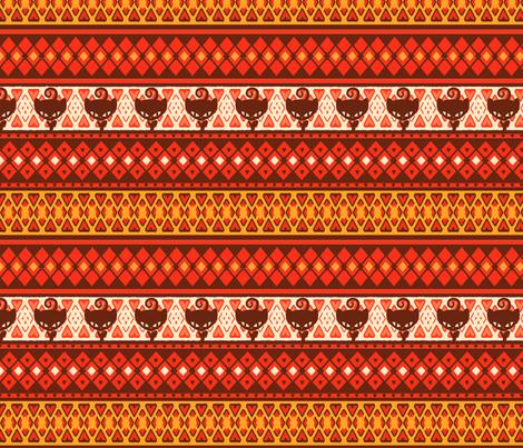 Kitty Fairisle Tribal fabric by lovekittypink on Spoonflower - custom fabric