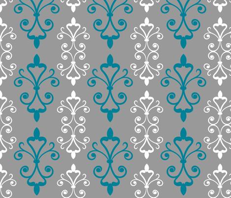 Blue Scroll fabric by christiem on Spoonflower - custom fabric