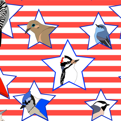 United Birds of America small version fabric by stepanic on Spoonflower - custom fabric