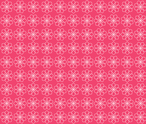 White geometric floral on Pink fabric by bexcaliber on Spoonflower - custom fabric