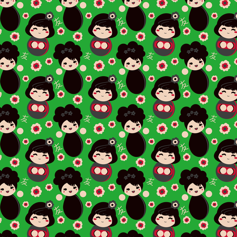 Japanese Kokeshi fabric by eppiepeppercorn on Spoonflower - custom fabric