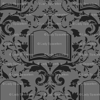 Book Damask Charcoal