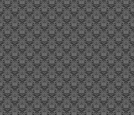 Book Damask Charcoal fabric by spacefem on Spoonflower - custom fabric