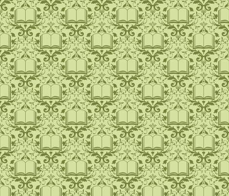 Book Damask Green fabric by spacefem on Spoonflower - custom fabric