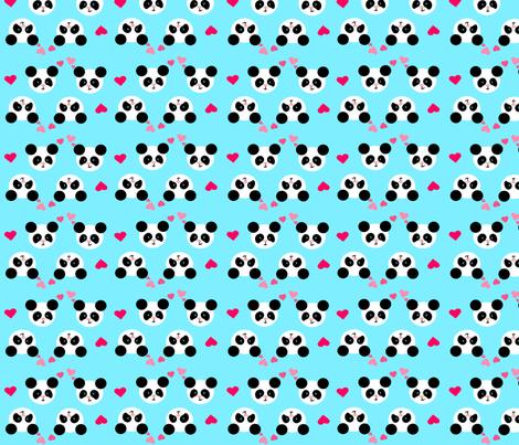 Panda Love Blue Small fabric by johanna_lange_designs on Spoonflower - custom fabric