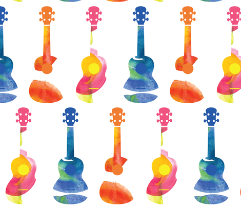 Ukuleles - Watercolor fabric by owlandchickadee on Spoonflower - custom fabric