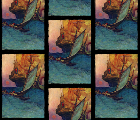 Howard Pyle Galleon  fabric by jenithea on Spoonflower - custom fabric