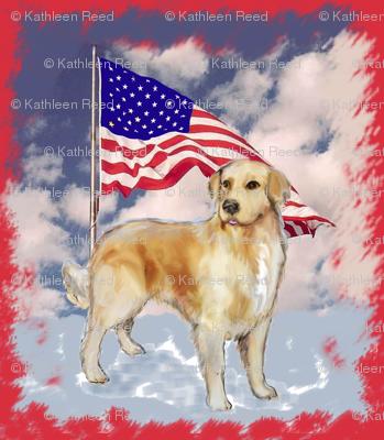 Golden Retriever and Flag