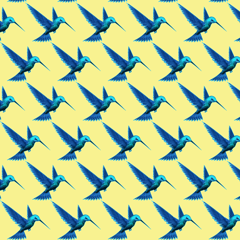 hummingbird blue-ch fabric by weebeastiecreations on Spoonflower - custom fabric