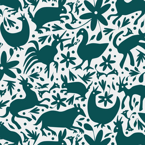 Mexico Springtime: Dark Teal on White (large scale)