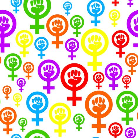Feminist rainbow fabric by spacefem on Spoonflower - custom fabric