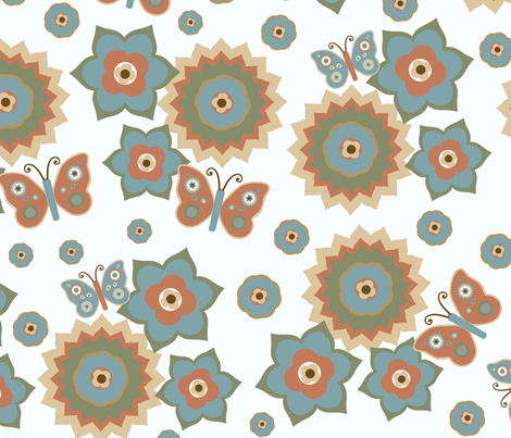Large Scale Flowers & Butterflies Naturals fabric by stitchwerxdesigns on Spoonflower - custom fabric