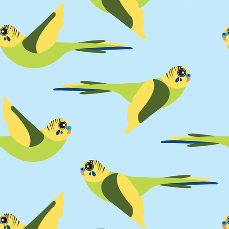 Fly Budgie! fabric by owlandchickadee on Spoonflower - custom fabric