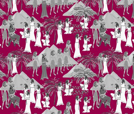 Cleopatra on rasberry  fabric by kociara on Spoonflower - custom fabric
