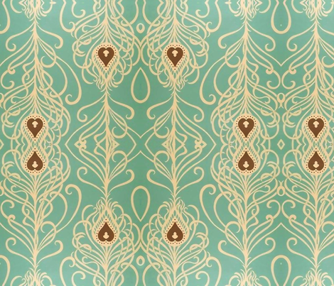 Turquoise & Tendrils fabric by flyingfish on Spoonflower - custom fabric