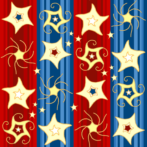 Embroidered_Swirling_and_Twirling_Stars_on_double_stripes_1Stripes_B fabric by khowardquilts on Spoonflower - custom fabric