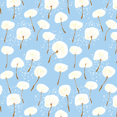 Dandelion Puffs fabric by horn&ivory on Spoonflower - custom fabric