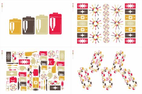 Retro Kitchen Tea Towels fabric by designedtoat on Spoonflower - custom fabric