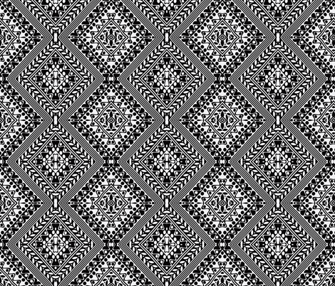 Tribal Diamonds Black & White fabric by flyingfish on Spoonflower - custom fabric